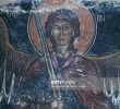 Angel holding sword, fresco in Byzantine church of St George, Komitades